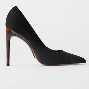 Zara black heels with tortoise heel size 38